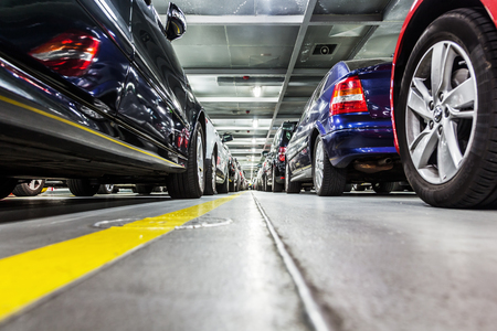 parking spaces: rows of parked cars on a ferry ship