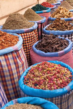 marrakesh: different spices on a market in Marrakesh, Morocco Stock Photo