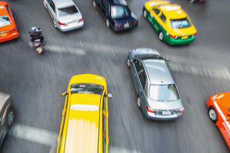 aerial view of busy traffic in Bangkok, Thailand, in motion blur Zdjęcie Seryjne