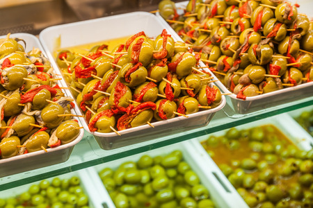 spanish tapas: Spanish tapas with filled olives