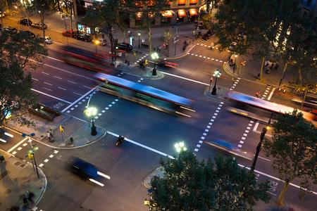 night traffic on to avenue in Barcelona, ??Spain