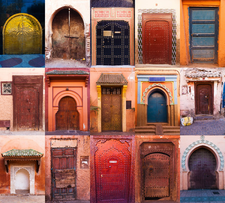 collage of old doors from Marrakesh