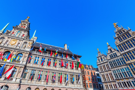 historical city hall and guildhalls in the old town of Antwerp, Belgium