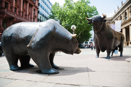Bull and bear statue in front of the stock exchange in Frankfurt am Main, Germany