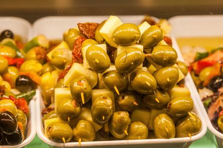 spanish tapas: Spanish tapas with olives Stock Photo