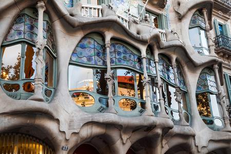 バルセロナ、カサ バトリョのウィンドウ?スペイン 写真素材