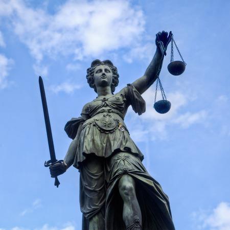 Justitia statue on the Romerberg in Frankfurt, Germany