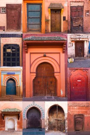 puertas viejas: collage de viejas puertas de Marrakech