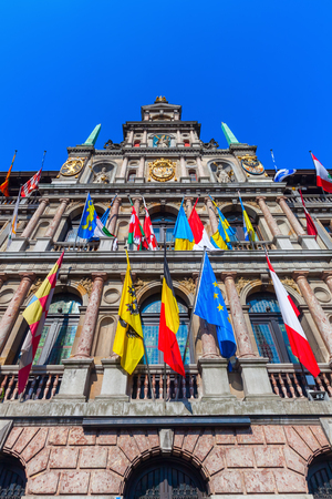 guild hall: historic city hall at the Grand Market Square in Antwerp, Belgium