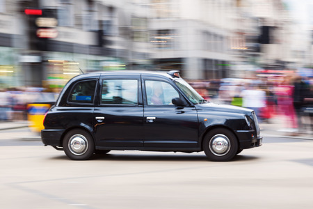 London taxi in motion blur