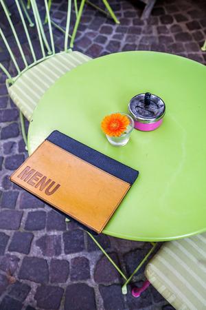bistro: sidewalk bistro table with menu