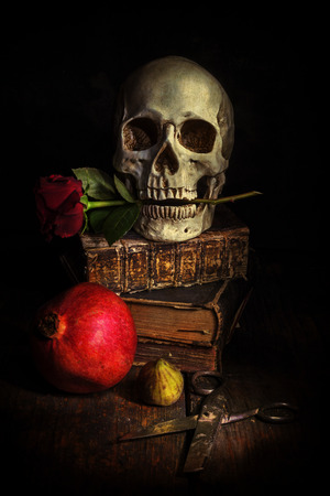 dark style picture still life with a skull, altered with a dark grunge texture