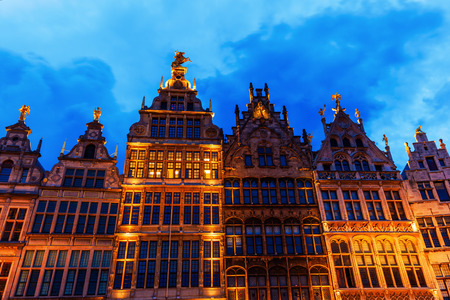 guild hall: old buildings at the great market square in Antwerp, Belgium, at night
