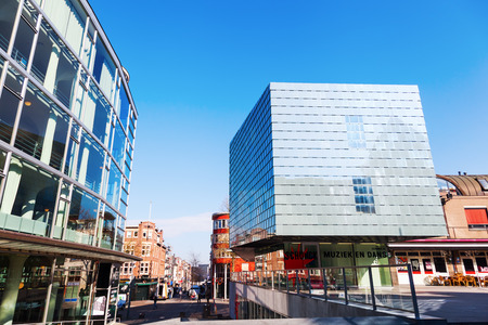 limburg: Heerlen, Netherlands - April 11, 2016: town heart of Heerlen with music school and Glass Palace. Heerlen is a town in the Dutch province Limburg with about 90.000 inhabitants, near the border to Germany