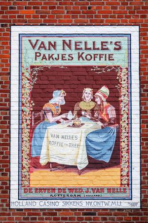 limburg: Valkenburg, Netherlands - April 11, 2016: historical advertisement at a house wall in Valkenburg. Valkenburg aan de Geul in the province Limburg is a popular tourist destination