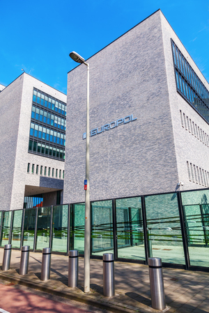 organized crime: The Hague, Netherlands - April 21, 2016: Europol headquarter in The Hague. It is the European Police department, that has to coordinate the work of the national police in case of organized crime.