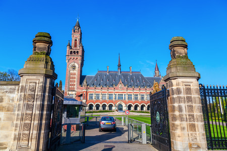 international law: The Hague, Netherlands - April 21, 2016: Peace Palace. It houses the Permanent Court of Arbitration and International Court of Justic, the Hague Academy of International Law and Peace Palace Library Editorial