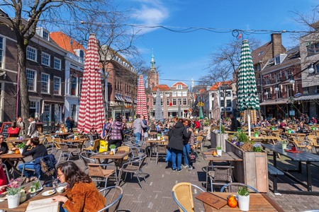 The Hague, Netherlands - April 21, 2016: Grote Markt with unidentified people. The Grote Markt is one of the main squares where the nightlife is happening.