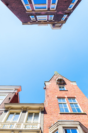 low angles: old building in the old town of The Hague, Netherlands, in a low angle view