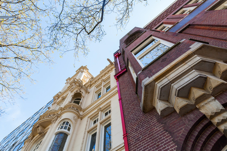 'the hague': facade of an old building in The Hague, Netherlands
