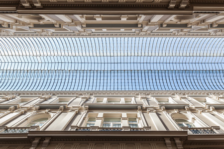 low angles: glass roof of the shopping arcade Passage in The Hague, Netherlands