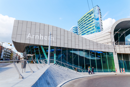 Arnhem, Netherlands - April 19, 2016: Arnhem Central railway station with unidentified people. After reconstruction it was reopened 2015.
