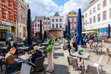 Arnhem, Netherlands - April 19, 2016: view of the city center of Arnhem with unidentified people. Arnhem is the capital of the province of Gelderland with a population of about 150,000