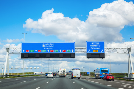 a4: Province South Holland, Netherlands - April 23, 2016: A4 motorway. The A4 is 114 km long and was planned to connect Amsterdam with Brussels. Today there is still a gap of 11 km near Rotterdam