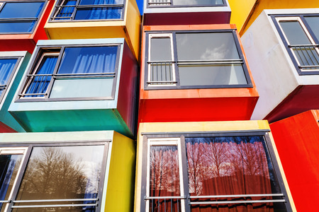 condominium complex: Almere, Netherlands - April 19, 2016: modern stackable student apartments called spaceboxes in Almere. Almere is famous for its extraordinary and experimental architecture