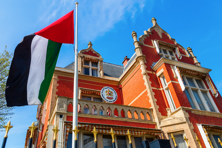inhabitants: The Hague, Netherlands - April 21, 2016: Embassy of the United Arab Emirates in The Hague. The Hague is seat of the Dutch government and the 3rd largest city of Netherlands with 515,880 inhabitants Editorial
