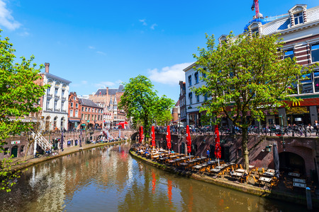 the netherlands: Utrecht, Netherlands - April 20, 2016: old town scene at a canal in Utrecht. The university city Utrecht is the 4th largest city of the Netherlands and capital of the same named province