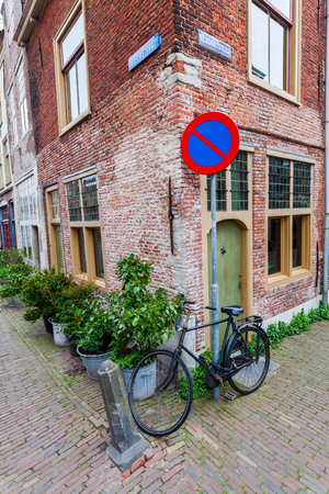 corner of house: picturesque corner of an old house in the old town of Leiden, Netherlands