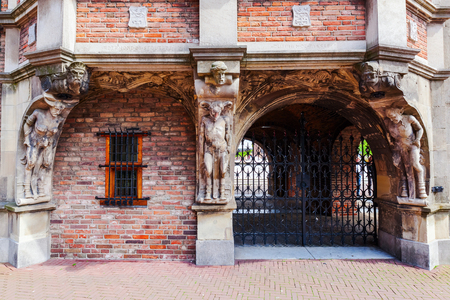 architectural detail of the historical devil house in Arnhem, Netherlands, that houses a part of the city hall