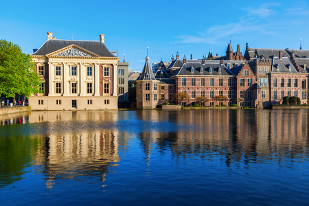 'the hague': Mauritshuis and Binnenhof at the Hofvijver in The Hague, Netherlands