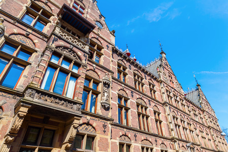 historical building: facade of a historical building in The Hague, Netherlands
