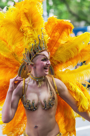 annually: Berlin, Germany - May 15, 2016: unidentified people at the Carnival of Cultures, an annually festival in Berlin. The processions, dance and music events celebrate peace, tolerance and multiculturalism