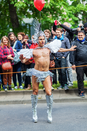 sexy gay: Berlin, Germany - May 15, 2016: unidentified people at the Carnival of Cultures, an annually festival in Berlin. The processions, dance and music events celebrate peace, tolerance and multiculturalism