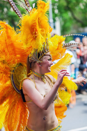 processions: Berlin, Germany - May 15, 2016: unidentified people at the Carnival of Cultures, an annually festival in Berlin. The processions, dance and music events celebrate peace, tolerance and multiculturalism