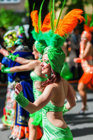 processions: Berlin, Germany - May 15, 2016: unidentified people at the Carnival of Cultures, an annually festival in Berlin. The processions, dance and music events celebrate peace, tolerance, and multiculturalism Editorial
