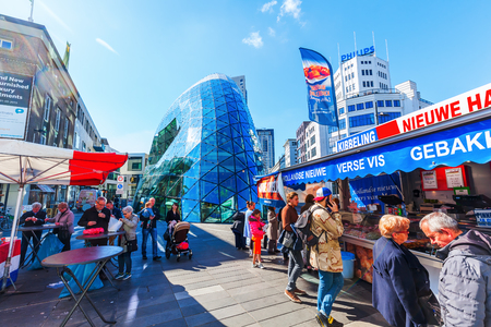 eindhoven: Eindhoven, Netherlands - April 12, 2016: city scene in Eindhoven with unidentified people. With about 225,000 inhabitants its the 5th-largest municipality of Netherlands and largest of North Brabant Editorial