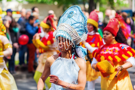 annually: Berlin, Germany - May 15, 2016: unidentified people at the Carnival of Cultures, an annually festival in Berlin. The processions, dance and music events celebrate peace, tolerance, and multiculturalism Editorial