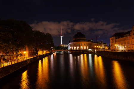 bode: night view on Bode Museum and Television Tower in Berlin, Germany Editorial