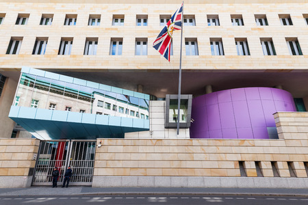 diplomatic: Berlin, Germany - May 14, 2016: British Embassy in Berlin with unidentified people. Its the UKs diplomatic mission to Germany. The building was designed by Michael Wilford and Partner and opened 2000.