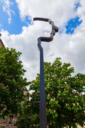 Berlin, Germany - May 14, 2016: sculpture for remembrance Georg Elser. He was the German Hitler Assassin and German resistance fighter to the Nazism.