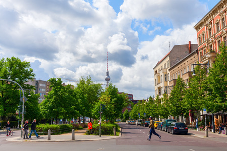 berg: Berlin, Germany - May 15, 2016: street view at Prenzlauer Berg with unidentified people. Since 1920 Prenzlauer Berg was a Berlin district. 2001 it was incorporated into the district of Pankow