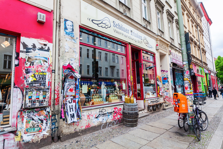 Berlin, Germany - May 17, 2016: unique wine shop in Berlin-Kreuzberg. Kreuzberg has emerged from one of the poorest quarters to one of Berlins cultural centers Publikacyjne