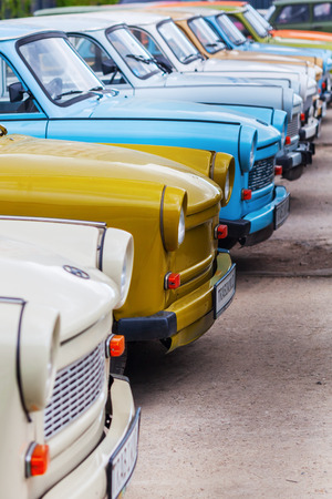 bloc: Berlin, Germany - May 15, 2016: rows of Trabant cars. It was most common vehicle in the former GDR. After reunification it becames a symbol of former East Germany and of the fall of Eastern Bloc