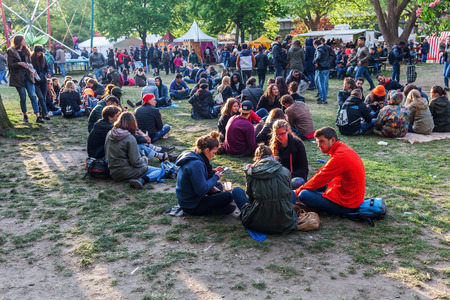 Berlin, Germany - May 15, 2016: unidentified people at street festival in Berlin-Kreuzberg, together with the famous Carnival of Cultures under the slogan of peace, tolerance, and multiculturalism