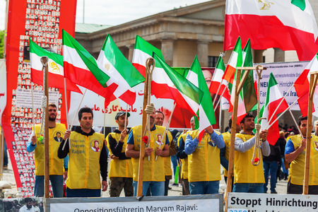demonstration: Berlin, Germany - May 14, 2016: demonstration with unidentified people in front of Brandenburger Gate. It is a demonstration against executions in Iran Editorial