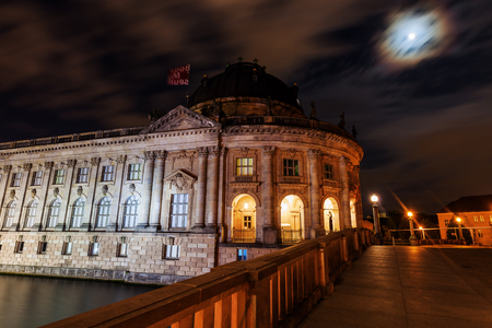 bode: Berlin, Germany - May 16, 2016: night view of the Bode Museum in Berlin. It is one of the groups of museums on the Museum Island and with the others listed by UNESCO world heritage sites